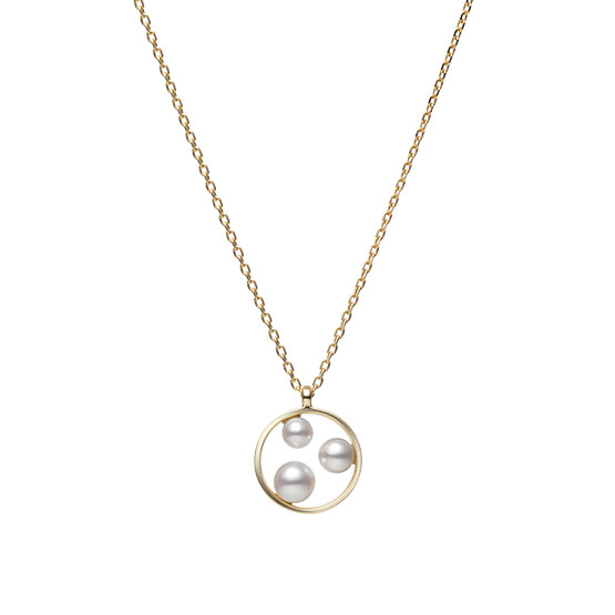 Mikimoto Open Circle Akoya Pearl Necklace in 18K Gold main view