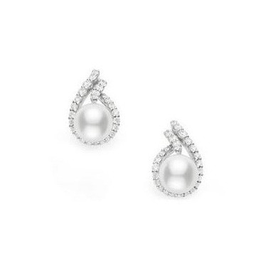 Mikimoto Laurel White Gold Diamond Akoya Pearl Drop Earrings
