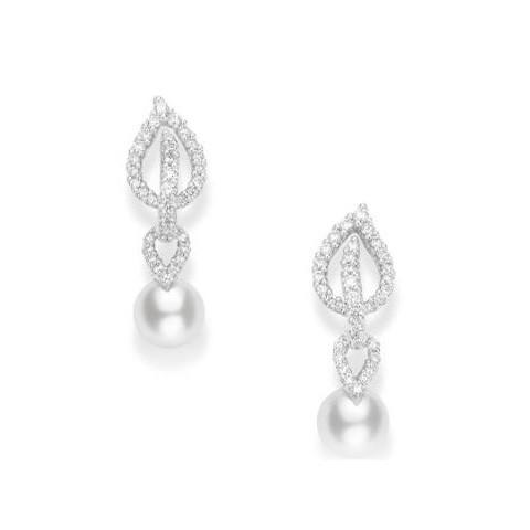 Mikimoto Laurel Tear Drop White Gold Diamond Akoya Pearl Earrings