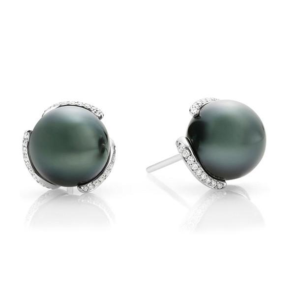 Mikimoto Embrace White Gold Black South Sea Pearl Diamond Stud Earrings