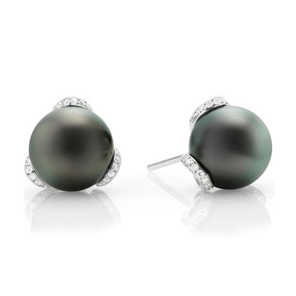 Mikimoto Embrace Black South Sea Pearl Diamond Stud Earrings
