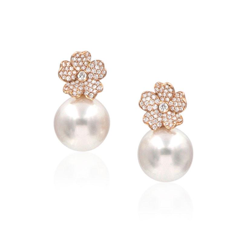 Mikimoto South Sea Pearl Rose Gold Diamond Flower Stud Earrings