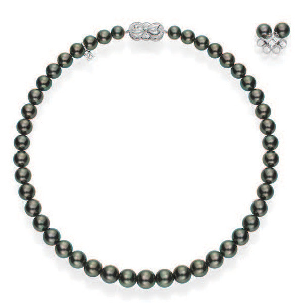 Mikimoto Ginza Black South Sea Pearl White Gold Box Set Necklace & Earring Set