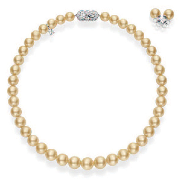 Mikimoto Ginza Golden South Sea Pearl White Gold Box Set Necklace & Earring Set