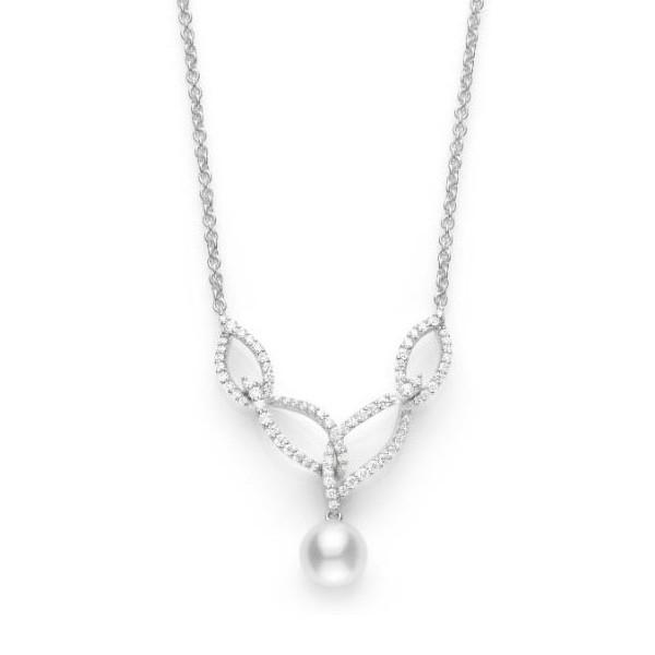 Mikimoto Laurel White Gold Drop Akoya Pearl Diamond Necklace