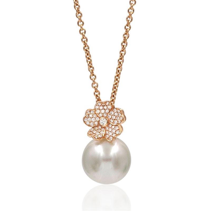 Mikimoto South Sea Pearl Rose Gold Diamond Flower Pendant Necklace