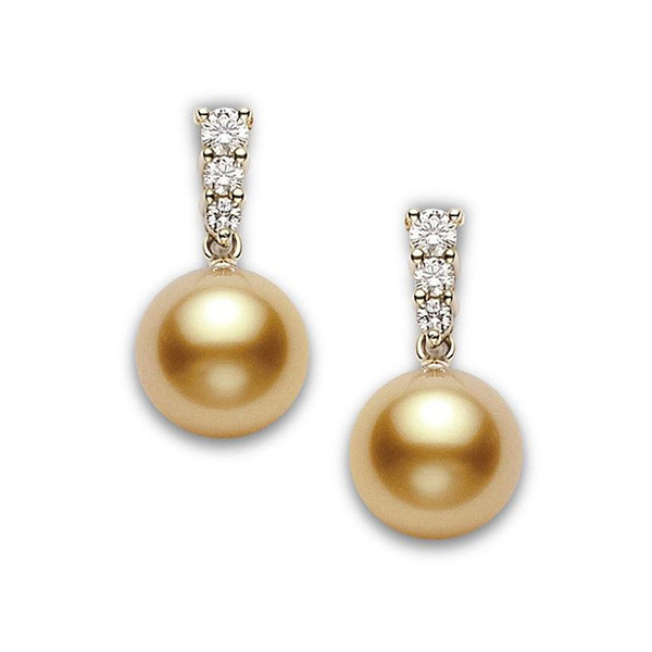 Mikimoto Morning Dew Golden South Sea Pearl Diamond Earrings