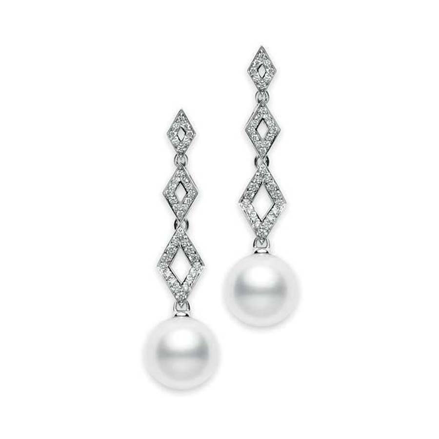 Mikimoto White South Sea Pearl and Diamond Dangle Earrings 11mm A+