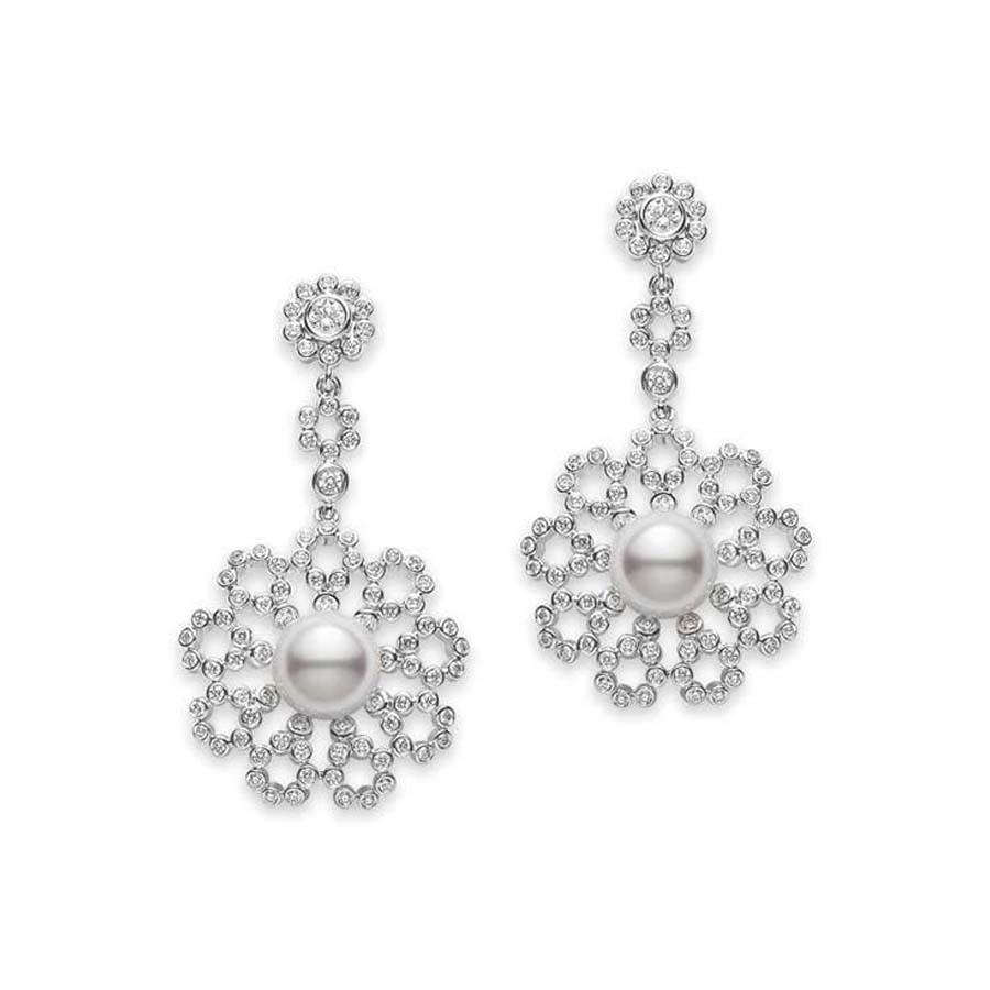 Mikimoto Akoya Pearl and Diamond White Gold Flower Dangle Earrings 7.5mm