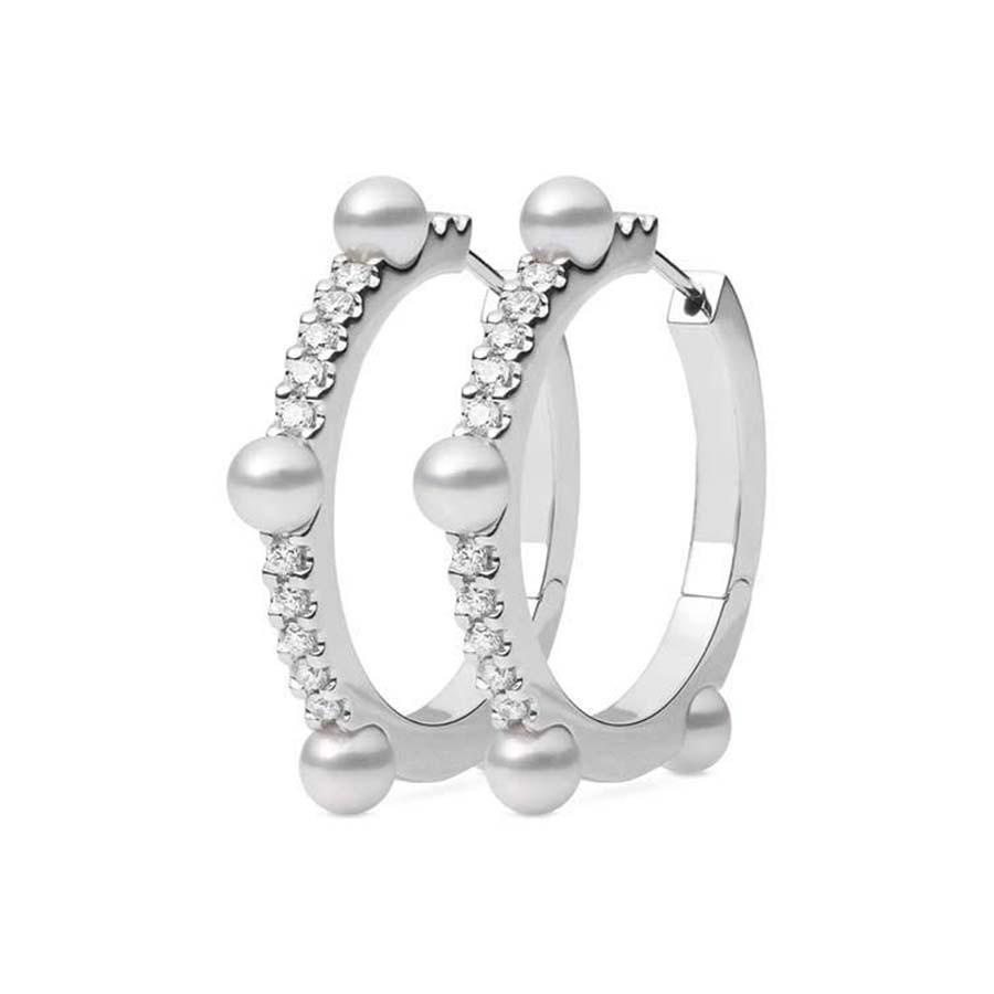 Mikimoto Akoya Pearl and Diamond White Gold Hoop Earrings