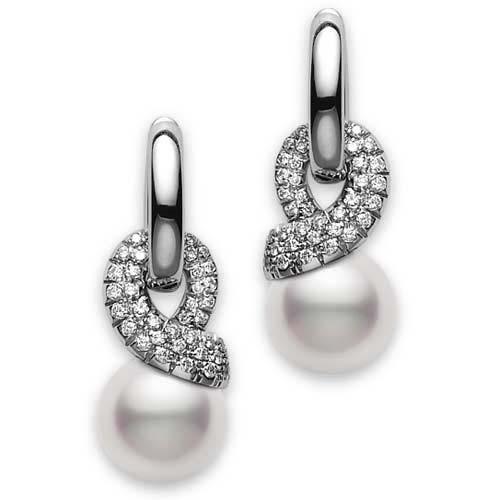 Mikimoto Moderna 8 Akoya Pearl and Diamond White Gold Earrings 8.5mm