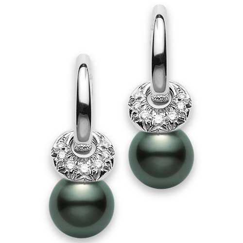 Mikimoto Moderna 8 Black South Sea Pearl and Diamond White Gold Earrings 9mm