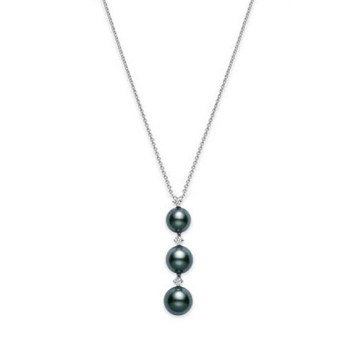 Mikimoto Black South Sea Pearl and Diamond 3 Drop White Gold Necklace