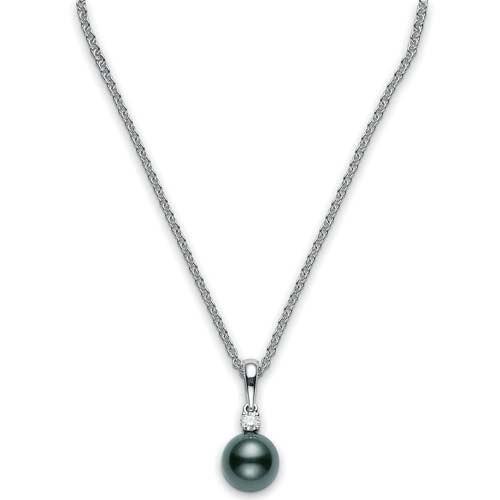 Mikimoto Black South Sea Pearl and Diamond White Gold Necklace 8.5 x 8mm