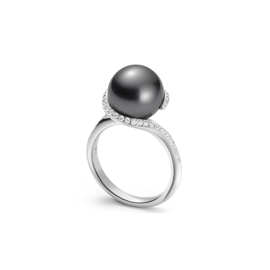 Mikimoto Twist Black South Sea Pearl Diamond Ring