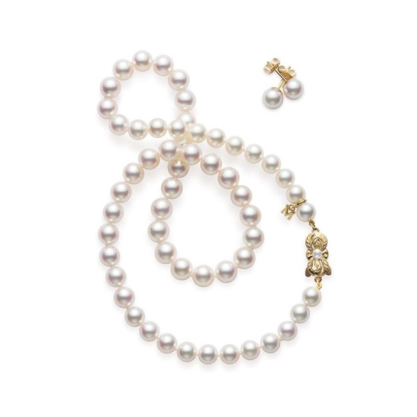 Mikimoto 8mm Akoya Pearl Two Piece Yellow Gold Gift Set