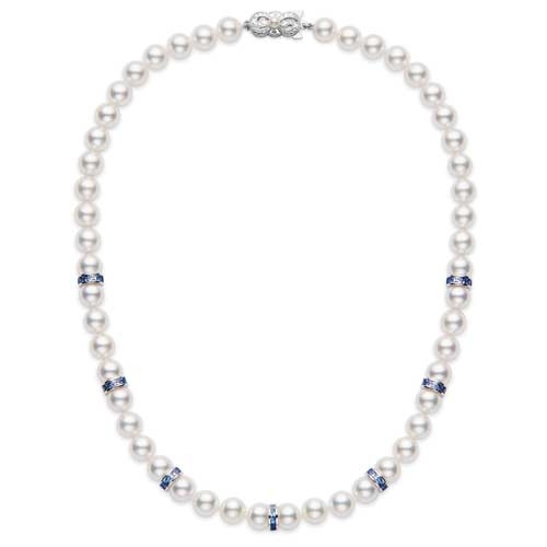 """Mikimoto Elements of Life Akoya Pearl and Blue Sapphire White Gold 18"""" Ocean Strand Necklace"""