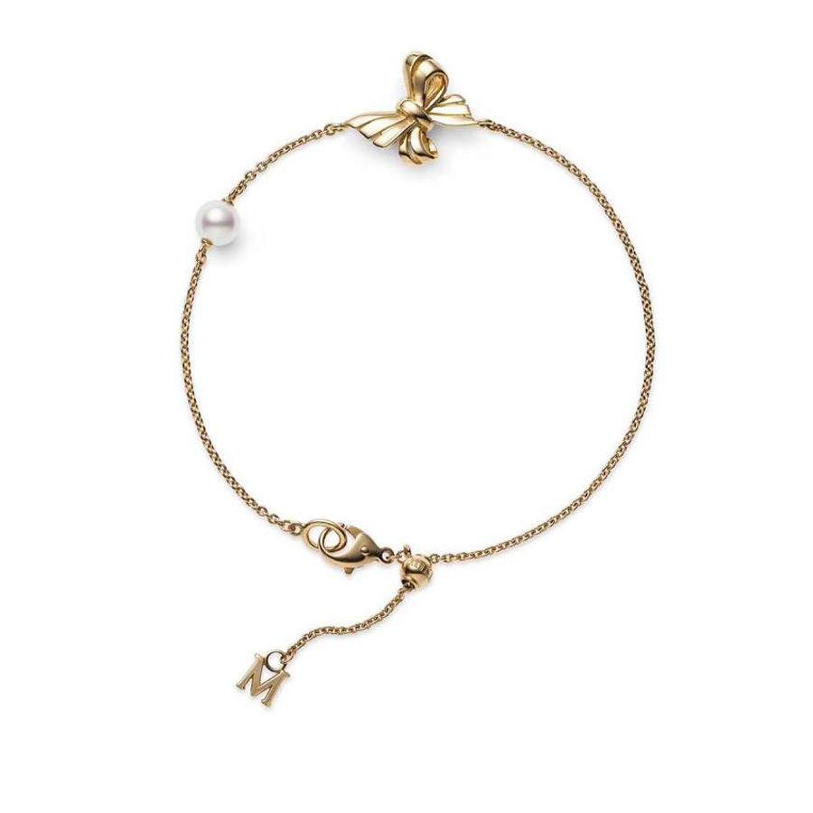 Mikimoto Akoya Pearl Station Yellow Gold Bow Bracelet