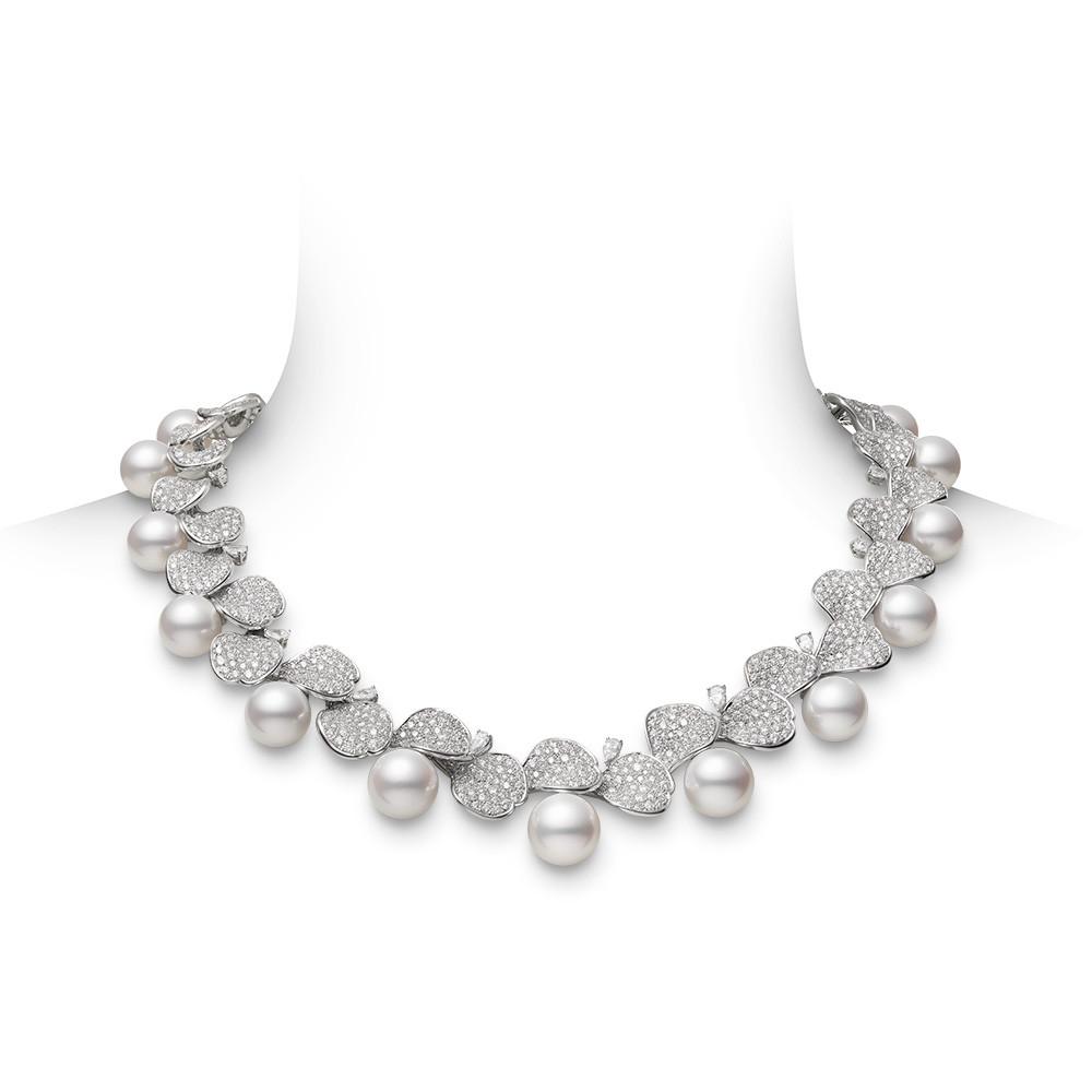 Mikimoto White Gold Pearl & Diamond Les Petales Place Vendome Necklace