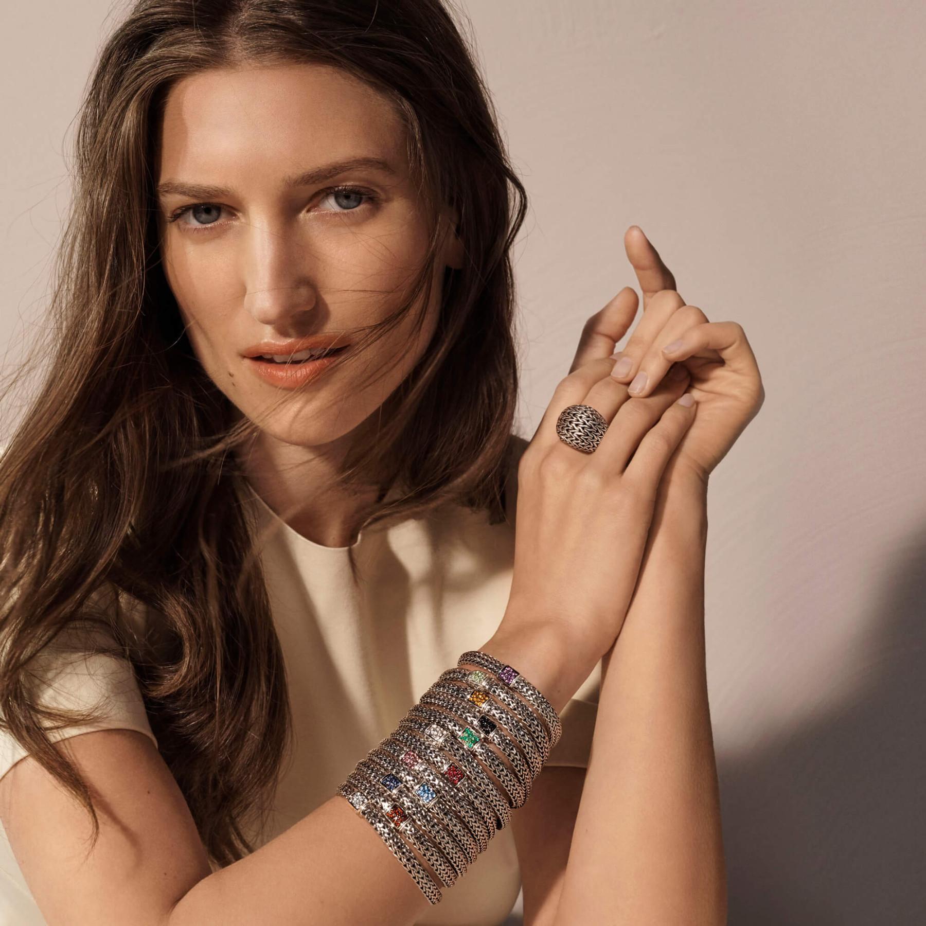 John Hardy Reversible 5mm Black Sapphire Bracelet in Silver MODEL IMAGE