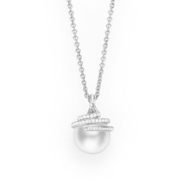 Mikimoto Embrace White South Sea Pearl Diamond Pendant Necklace