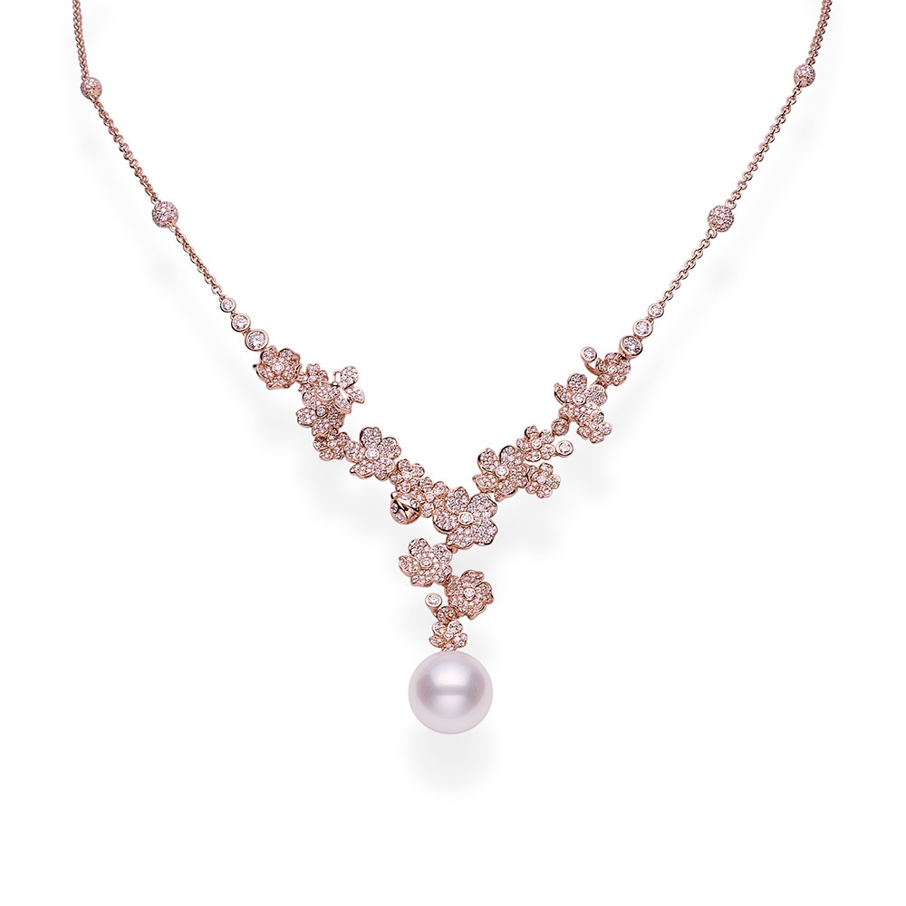 Mikimoto South Sea Pearl & Diamond Flower Rose Gold Necklace