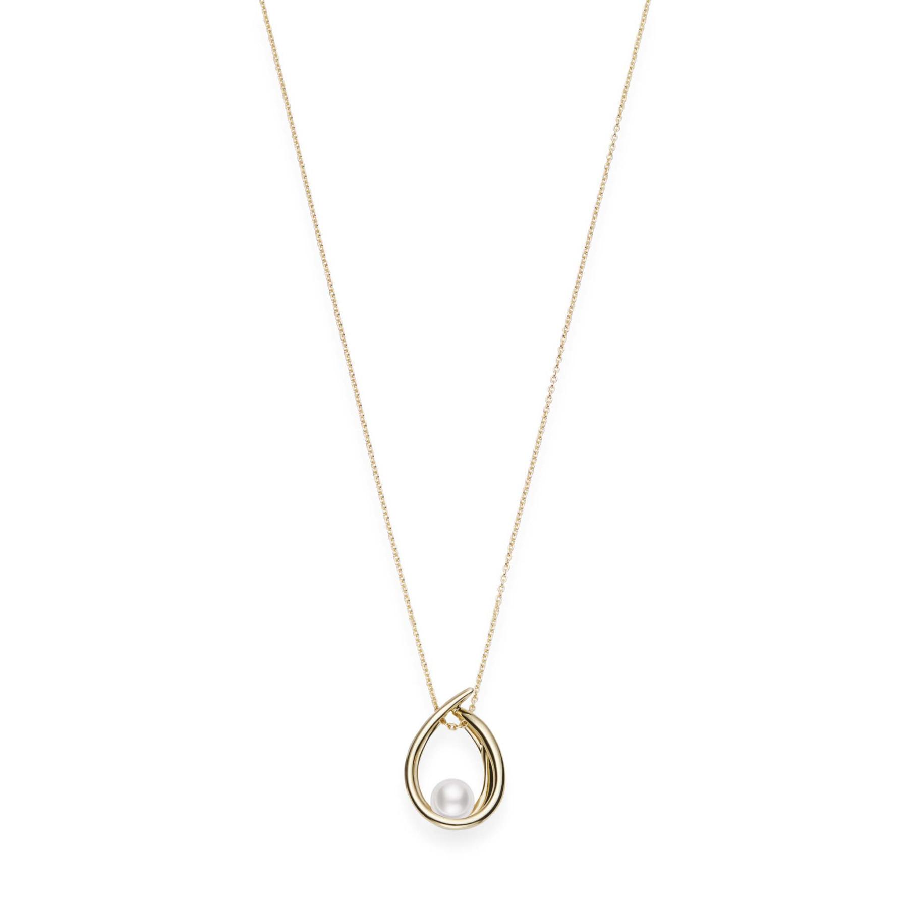 Mikimoto 18kt Yellow Gold Teardrop Akoya Pearl Necklace