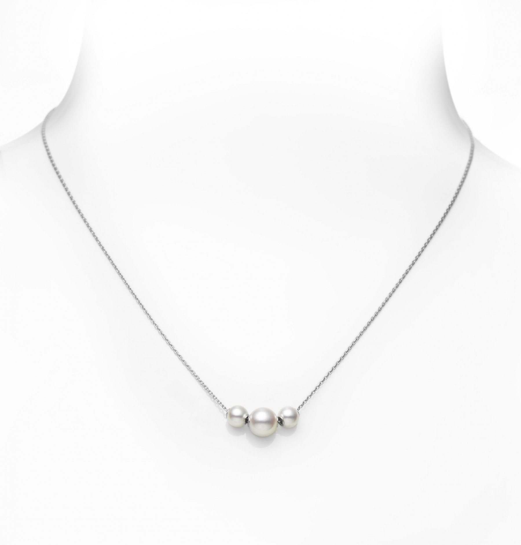 Mikimoto 18kt White Gold Three Pearl Station Necklace