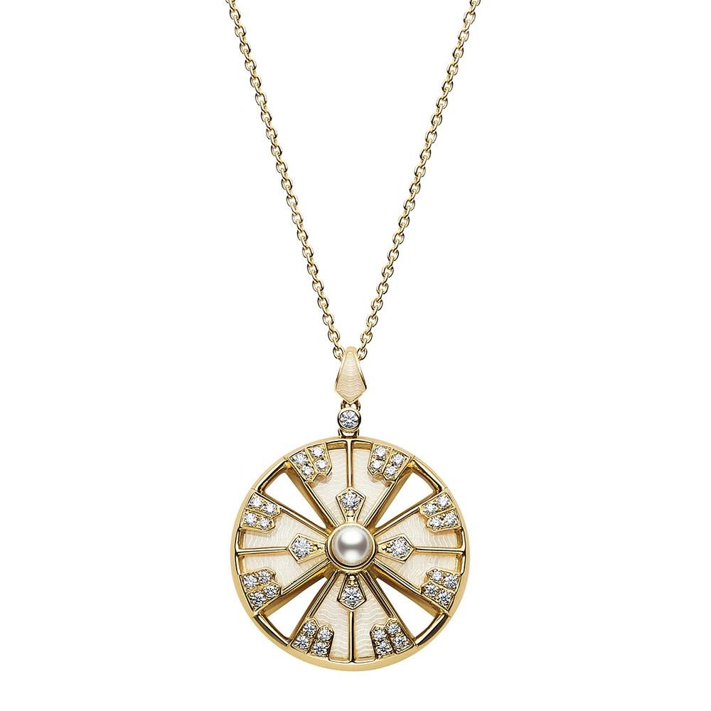 Mikimoto Akoya Pearl & Diamond Yaguruma Pendant Necklace