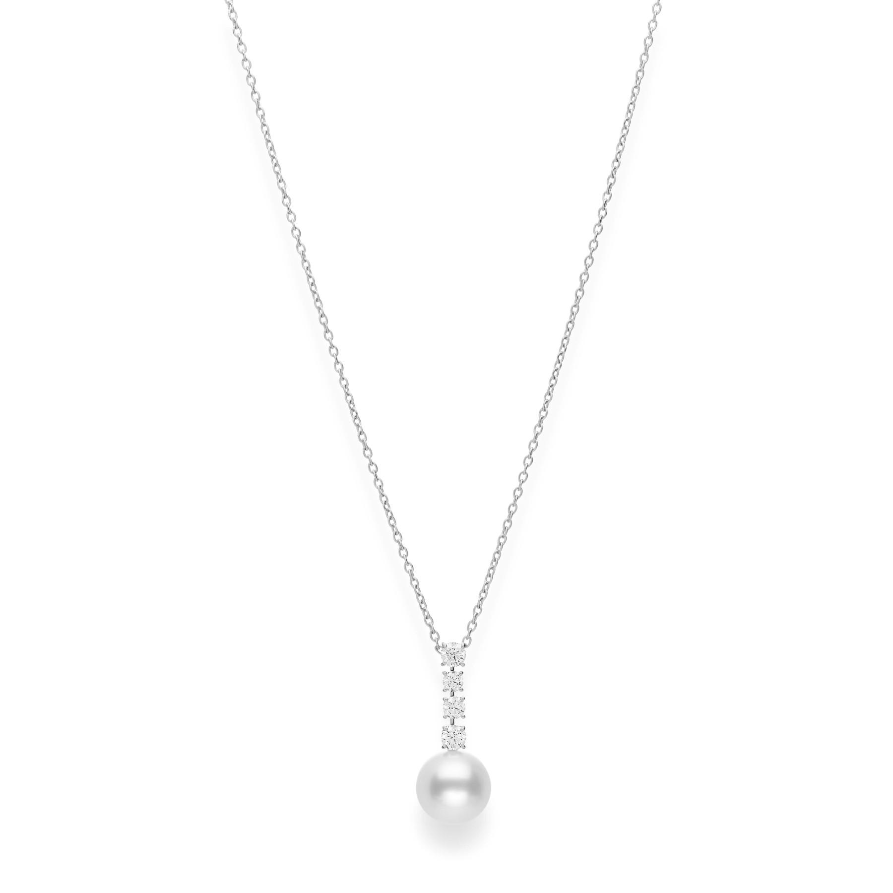 Mikimoto Pearl Diamond Drop Necklace