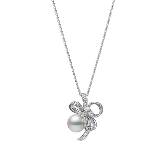 Mikimoto Pearl and Diamond Bow Necklace in 18K Gold