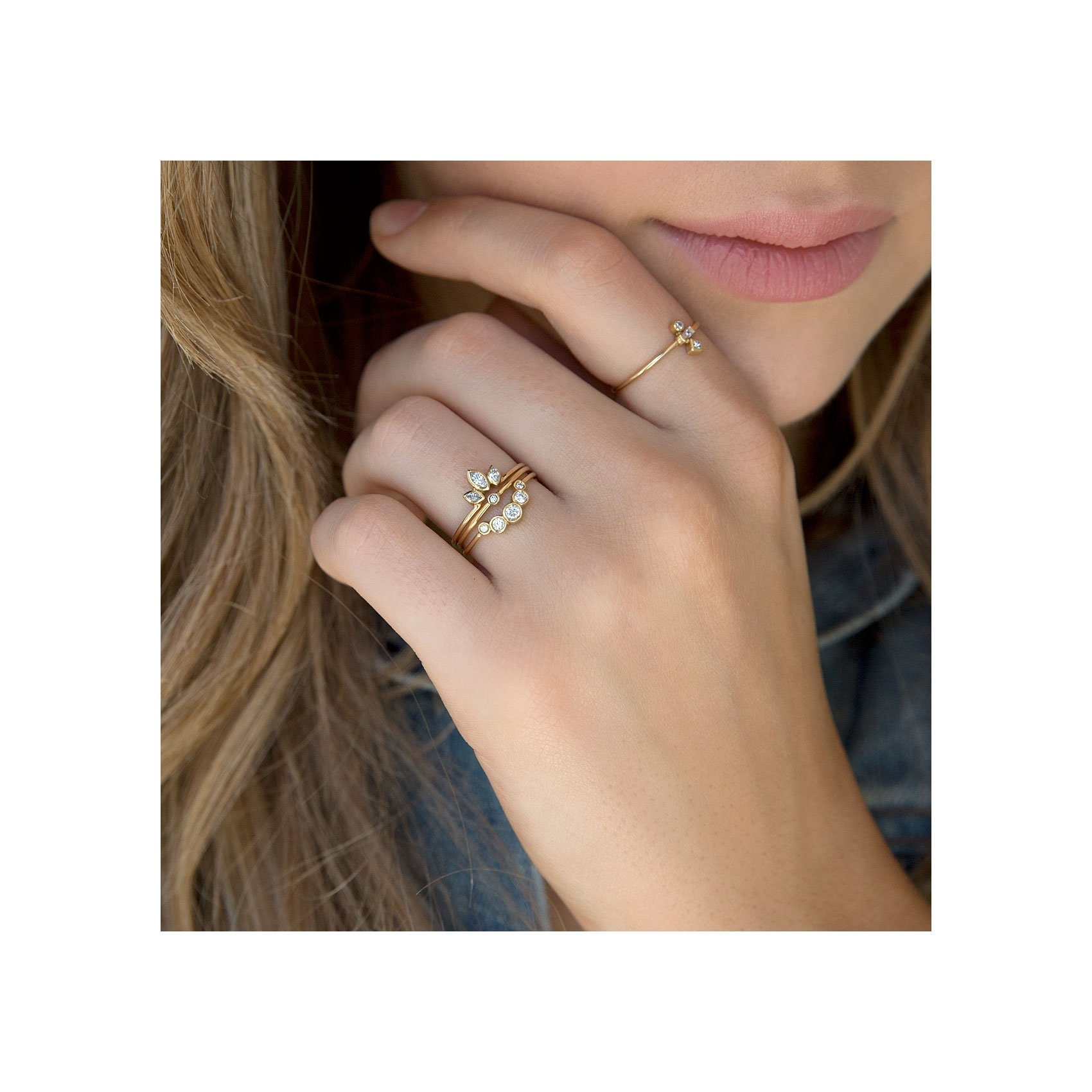 Zoe Chicco Marquis Diamond Crown Stackable Yellow Gold Ring on Model