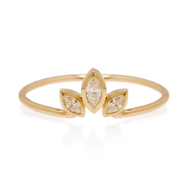 Zoe Chicco Marquis Diamond Crown Stackable Yellow Gold Ring