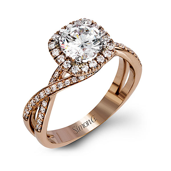 Simon G. Fabled Halo Rose Gold Engagement Ring Setting