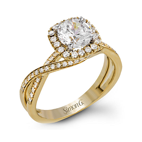 Simon G. Fabled Halo Yellow Gold Engagement Ring Setting