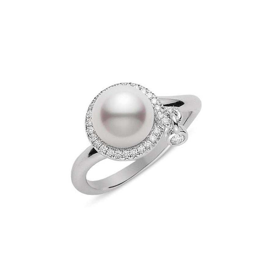Mikimoto White Gold Pearl & Diamond Dangling Charm Ring
