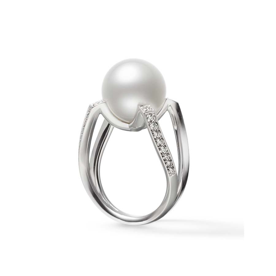 Mikimoto M Collection South Sea Pearl Diamond Ring