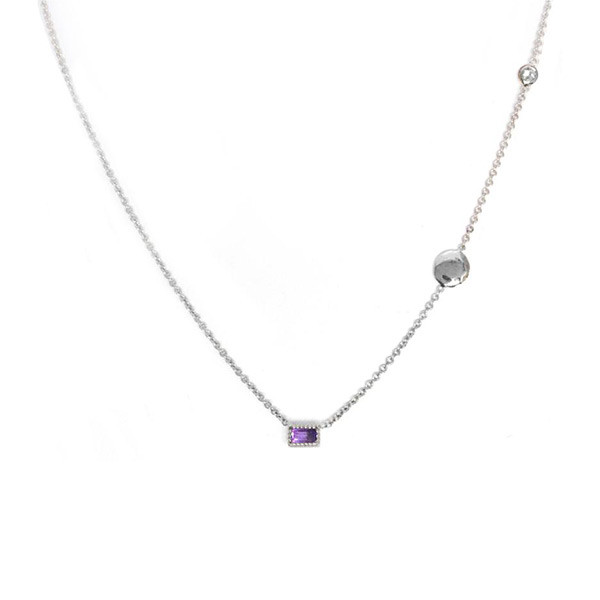 Amythyst Pendant Station Necklace