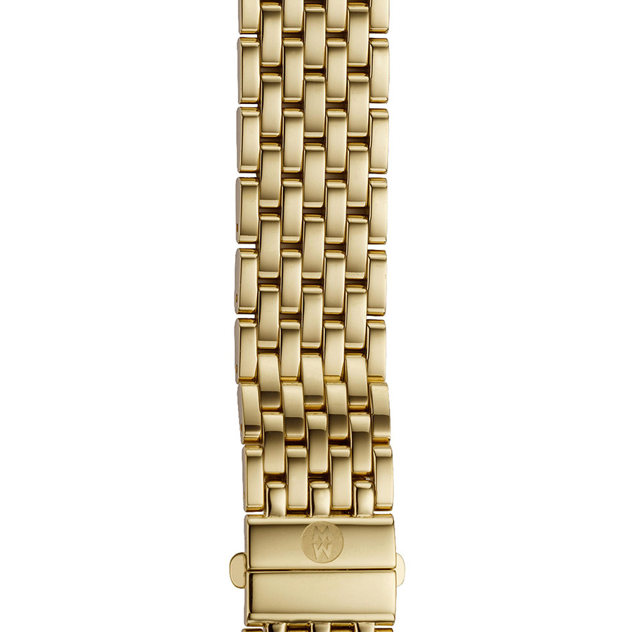 Michele Deco 16mm Yellow Gold Plated 7 Link Bracelet