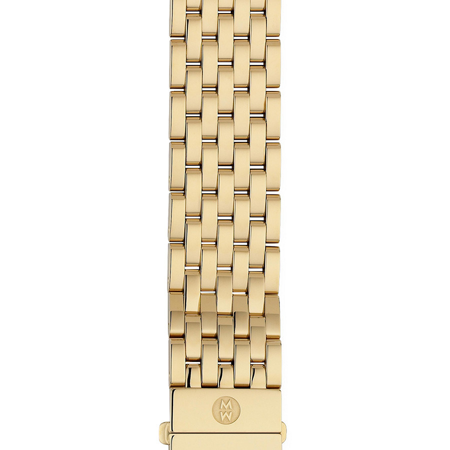 Michele 18mm Deco Yellow Gold Plated 7 Link Bracelet
