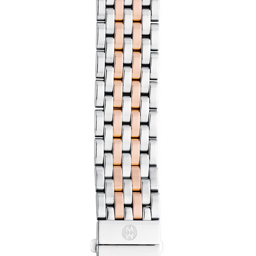 Michele 18mm Deco Two-Tone Rose Gold 7 Link Bracelet