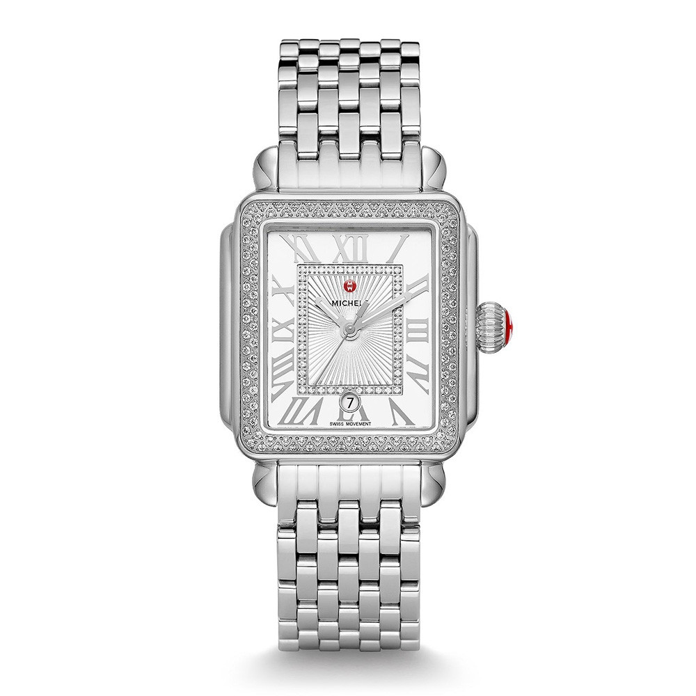 Michele Deco Madison Diamond Watch on Stainless Steel Bracelet