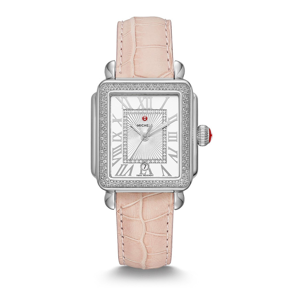 Michele Deco Madison Diamond Stainless Steel Watch on Blush Alligator Strap