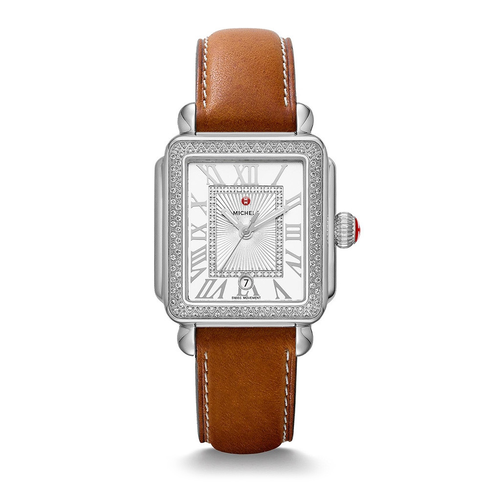 Michele Deco Madison Diamond Stainless Steel Watch on Saddle Calfskin Strap