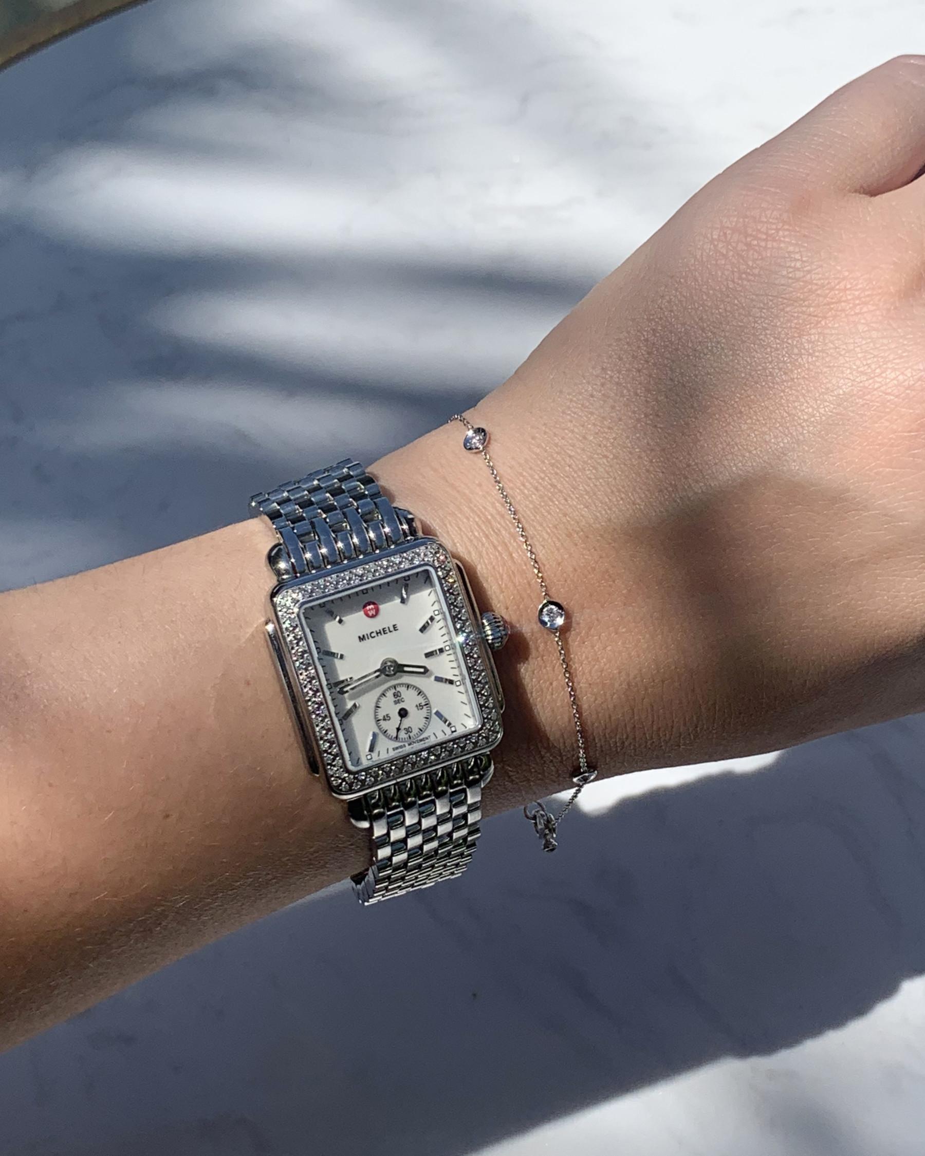 Michele Deco Mid Diamond & Mother of Pearl Watch on Stainless Steel Bracelet Model