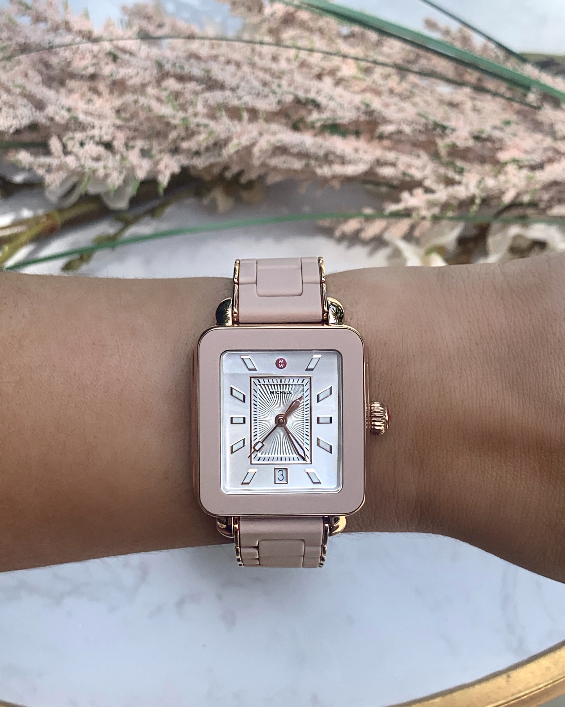 Michele Deco Sport Pink Gold Watch with Rose Rubber Link Strap Model