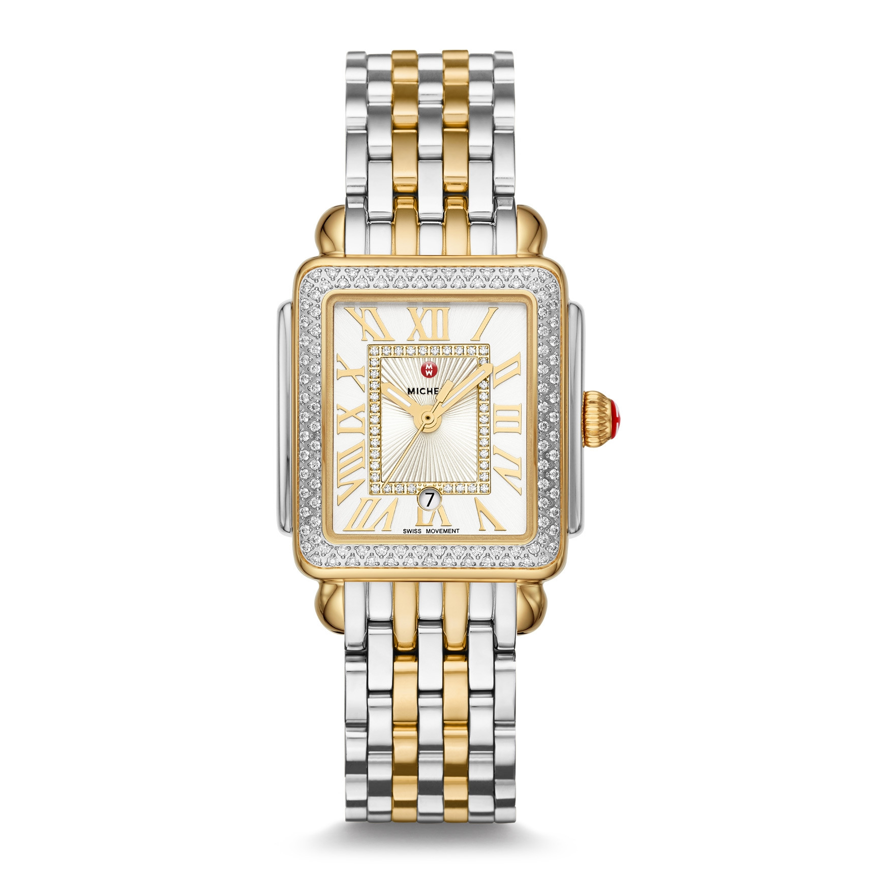 Michele Two-Tone Deco Madison Mid Diamond Bezel Watch on a Bracelet