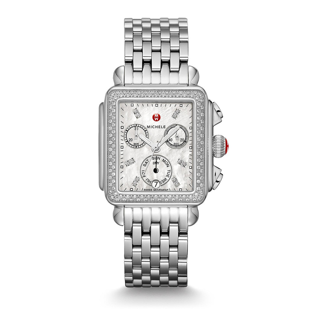 Deco Stainless Steel White Mother of Pearl & Diamond Michele Watch on Bracelet