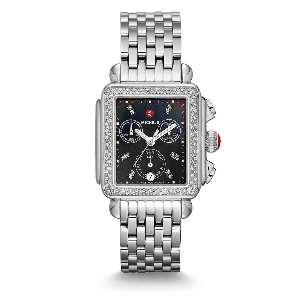 Deco Stainless Steel Black Mother of Pearl & Diamond Michele Watch on Bracelet