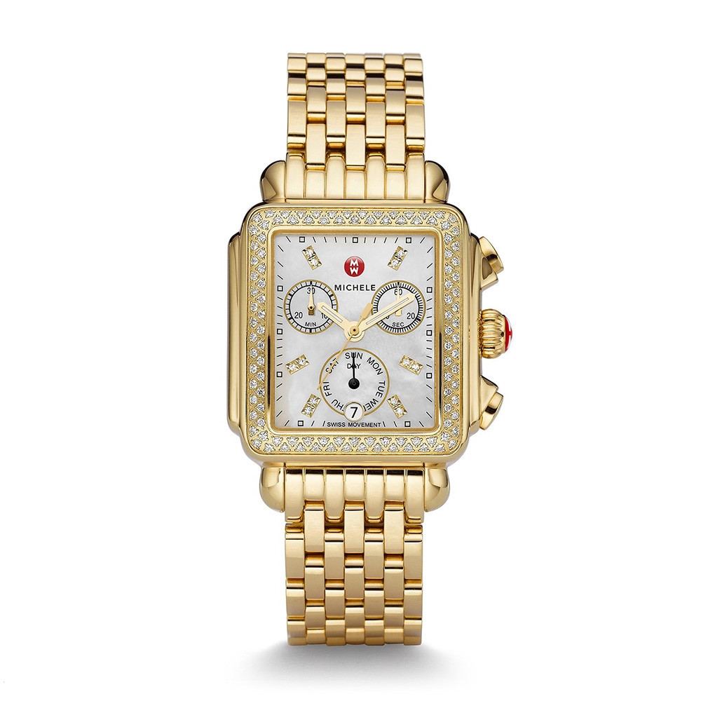 Deco Yellow Gold White Mother of Pearl & Diamond Michele Watch on Bracelet